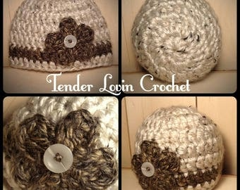 Size 0-3 Months baby hat, Soft and warm baby hat, baby hat, baby beanie, handmade crochet hat