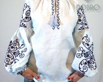 DOBRO vyshyvanka ukrainian embroidered blouse bohemian ethnic shirt boho chic peasant top with pompoms