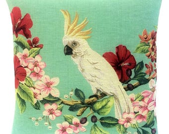 Cockatoo Pillow Cover - Cockatoo Cushion Cover - Cockatoo Gift - Cockatoo Decor - 18x18 Belgian Tapestry Throw Pillow - PC-5657