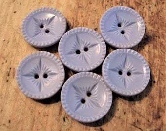 Vintage Blue Plastic Buttons, Set of 6