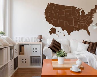 Map marker stickers etsy usa map decal with location markers united states map wall decor united states map gumiabroncs Image collections
