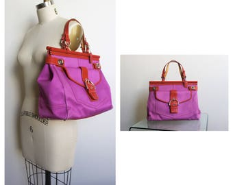 Vintage COACH Purple and Red Briefcase Style Handbag