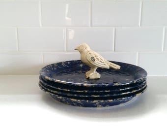 Set of Four Vintage Bennington Pottery Dinner Plates . Blue Agate Stoneware . Cobalt Blue . Bennington Potters Plates . Two Sets Available