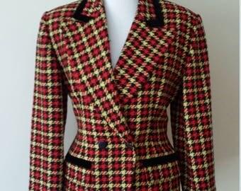 Plaid jacket, S, M, plaid blazer, wool blazer, wool jacket, fall jacket, fall blazer, red jacket, houndstooth jacket
