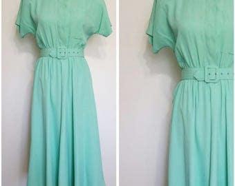 Carol Anderson dress, S, M, mint dress, green dress, 80s dress, rayon dress, belted dress, swing dress, mint green