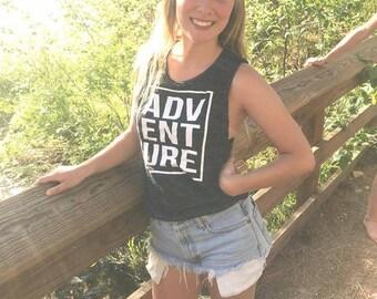 ADVENTURE Adult Women's Muscle Tank - Camping Shirt - Camping Tank - Free Shipping