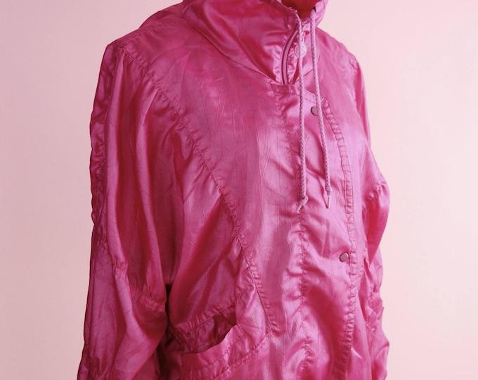Featured listing image: 80s Adidas Vintage Windbreaker // 1980s, 1990s, Hot Pink, Magenta Jacket, Retro Sportswear, Women Size Small, Medium, Large