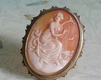 Vintage Classical Greek Goddess Siren Playing Harp Shell Cameo, 800 Silver