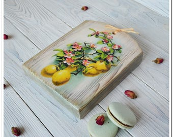 Kitchen white board wooden cheeseboard serving board decoupage board quince decor cutting board housewarming gift for her Christmas gifts