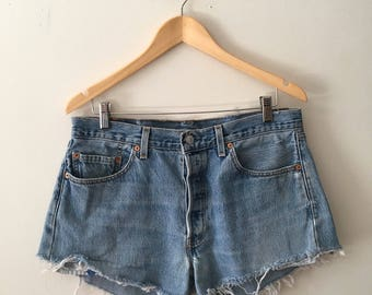 SALE Vtg Levi's 501 high waisted button fly cut off shorts