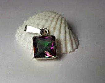 Delicate mystic topaz faceted pendant set in sterling silver, free shipping