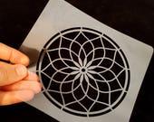 Mandala stencil, DIY stencil projects, dream catcher stencil, decorate your bag, T-shirt, wall or cards, mandala flower, arabesque stencil
