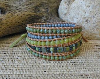 Leather Wrap Bracelet: Green Mix/Beaded Leather Wrap/5 Wrap Bracelet/Gift for Her/3rd Anniversary/Boho Bracelet/Statement Bracelet/OOAK