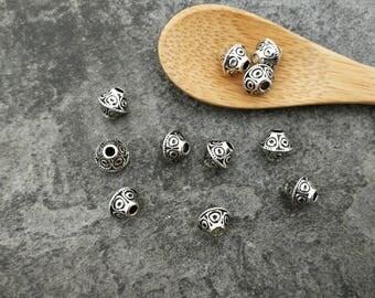 Beads bicone beads ethnic boho large hole, Metal Silver 7 mm