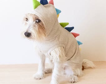 Dog hoodie Dog clothes / Dino dog / Oatmeal