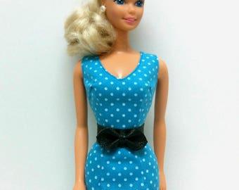 Blue Polka Dot Dress with Dark Brown Belt (for 1980s Barbie)