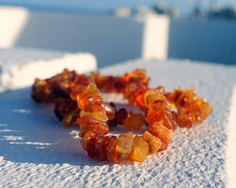 Simple Raw Beaded Baltic Amber Necklace For Adults, Raw Amber Jewelry, Healing Necklace