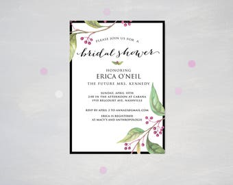 Printable Bridal Shower Invitation, 5x7 printable, floral bridal invitation