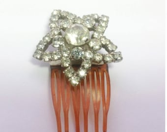 Original, vintage, Art Deco star hair ornament in sparkling paste. Bridal hair accessory. Wedding hair comb.