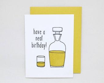 Whiskey Birthday Card // scotch birthday card, letterpress birthday card, whiskey letterpress, birthday card for him, dad birthday card
