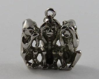 Three Wise Monkeys- Speak No Evil, Hear No Evil, See No Evil Sterling Silver Vintage Charm For Bracelet