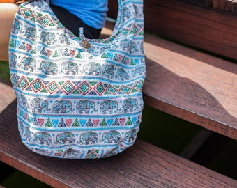 Thai Elephant Shoulder Bag CrossBody Bag Messenger Bag Cotton Bag Hippie Boho Bag Sling Bag Handmade Multi Color