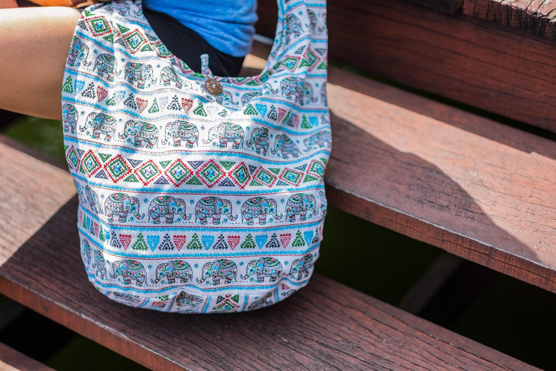ef8fe2cac438 Thai Elephant Shoulder Bag CrossBody Bag Messenger Bag Cotton Bag Hippie Boho  Bag Sling Bag Handmade