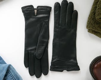 Custom womens leather gloves with cashmere lining : black femme gants cuir winter lederhandschuhe classic soft genuine warm gray brown red