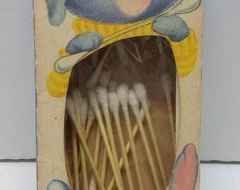 Vintage Q-Tip Box Holder RARE Chesebrough Ponds Nursery Baby Bunny Rabbit #JB