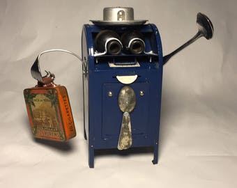 First Class Traveler - Assemblage Art Mailbox Robot Sculpture