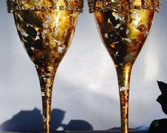 Gold Champagne Glasses, Hand painted wine glasses, Toasting Glasses, Wedding Flutes, Hand Painted Wedding Glasses