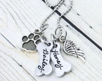 Custom Dog Memorial Bracelet - Personalized Dog Memorial Jewelry - Pet Memorial Jewelry - Dog Bone Memorial Necklace - Pet Loss Gift