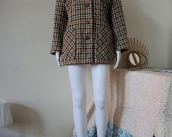Vintage houndstooth checked jacket wool 1970s 70s