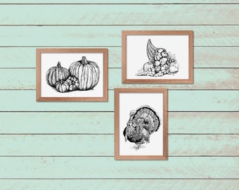 Thanksgiving Wall Decor, Black and White Thanksgiving Prints, Thanksgiving sign, Printable Art, Thanksgiving Gift, Craft Supplies