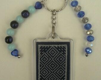 Blue Sashiko embroidery bag charm