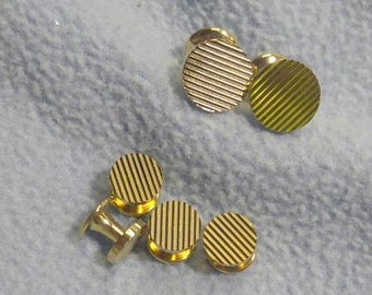 Interesting Cuff Links and Button Shirt Studs~ Goldtone with incised line design!