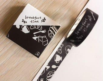 Cute washi tape -  b&w - breakfast time | Cute Stationery