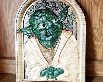 3D Yoda Plaque, Star Wars Plaque, Wooden Yoda Plaque, Yoda Sign, Yoda Picture, Star Wars Art, 3D Star Wars Art, Starwars Art, SW Decor