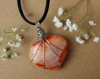 Banded Carnelian Crystal Heart Pendant, Crystal Healing Necklace