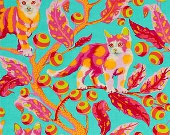 Tula Pink Tabby Road Cat Disco Kitty Strawberry Fields Cats Botanical Leaves Cotton Fabric by Free Spirit Fabrics