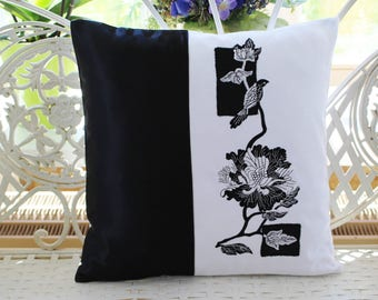 Embroidered Cushion cover black & white flowers