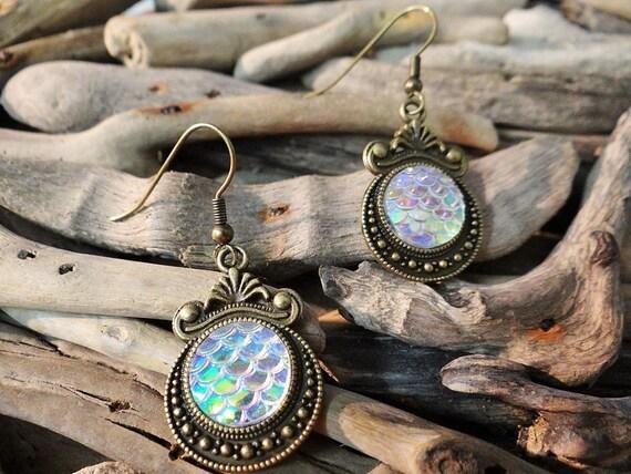 AB Clear Rainbow Opal Mermaid Tail Scale Scales Dragon Dragons Iridescent Earrings Bronze Tone Daenerys Targaryen Ariel Game of Thrones