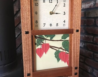 Arts and Crafts Mantle Clock Greene and Greene Style with Motawi Tile