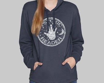Navy Blue Womens Pullover Hoodie, Psychic, tarot card hoodie, sweatshirt for women, sweatshirt, fleece, graphic hoodie