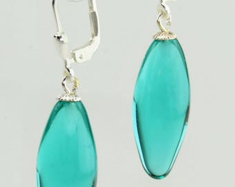 Earrings olive / Brisur 925/000 Silver rhodium plated, turquoise