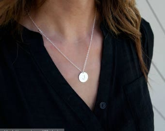 Personalized Gold Initial Necklace/ Delicate Initial Necklace/ Gold Disk Necklace / Charm Necklace/ Christmas Gift/Bridesmaids Gift/N284