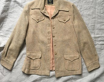 Camel Twill Tweed Safari Style Jacket