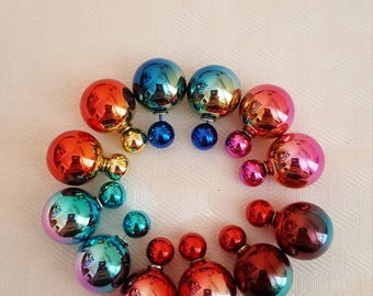Metallic Shiny Double Stud Earrings - 2-tone Stud Earrings - Multi Color Earrings - Rainbow Earrings - Stud Earrings - Double Stud Earrings
