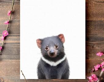 Tasmanian devil print, PRINTABLE art, Nursery decor, Australian animals, Baby animal prints, Nursery wall art, The Crown Prints, Animal art