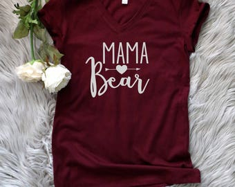 Mama Bear Vneck Shirt, Mom Shirt, Momma Bear Shirt, Pregnancy Announcement T-Shirt
